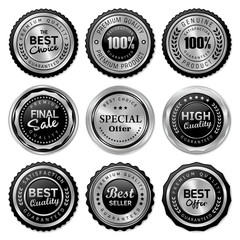 Obraz set of quality badges and labels - fototapety do salonu