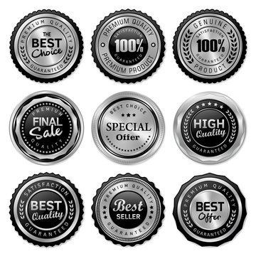 set of quality badges and labels