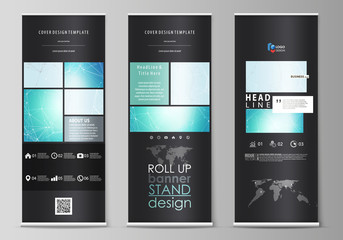 The black colored vector illustration of the editable layout of roll up banner stands, vertical flyers, flags design business templates. Futuristic high tech background, dig data technology concept.