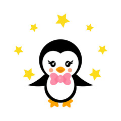 cartoon cute penguin with tie and stars