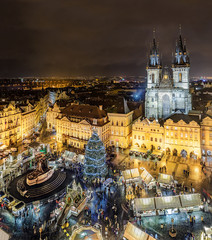 Foto op Aluminium Praag Tyn Church on Old Town Square (Cathedral of Our Lady before Tyn) at night. Prague, Czech Republic