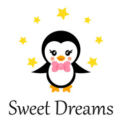 cartoon cute penguin with tie and stars and text