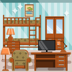 Children's room. Background. Vector illustration.