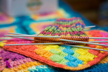 Handrcrafted colorful rainbow scarf beginned to knitting