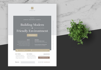 Business Event Flyer Layout with Grey and Gold Accents