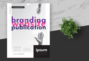 Creative Agency Flyer Layout with Pink and Purple Accents