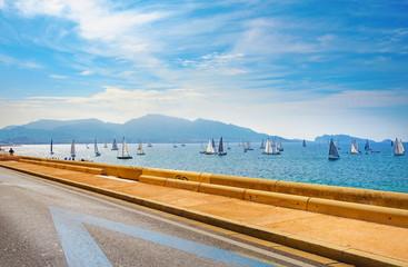 Wall Mural - Coastal road along sea on La Corniche Kennedy seafront. Marseille, France