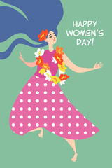 Vector greeting card for the International Women's Day with a cute dancing girl