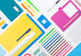 Colorful School Supplies and Smartphone Mockup