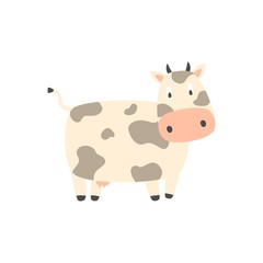 Cute cow in flat style isolated on white background. Vector illustration. Cartoon cow.