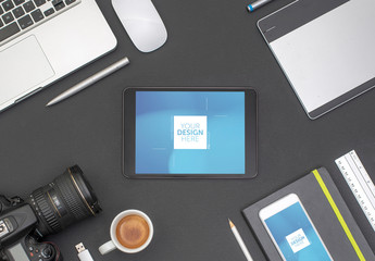 Desk with Tablet, Smartphone, and Camera Mockup