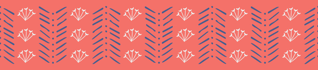 Creative hand drawn seamless repeat border design, coral and  blue. Great for edge trim on textiles, wallpaper border, ribbon, decorative tape designs and other home decor and graphic design uses.