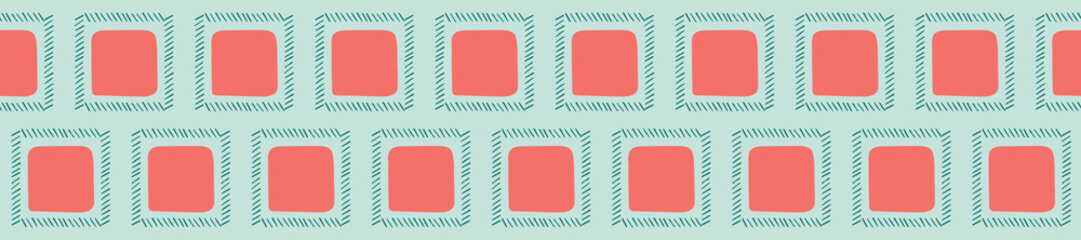 Coral and mint green repeat seamless border featuring framed irregular squares. Hand drawn and creative, vector edge trim design, great for decorative tape, wallpaper borders, paper items and decor.