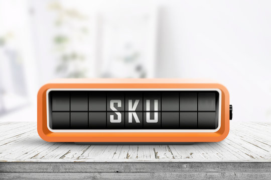 SKU sign and abbreviation for stock keeping unit
