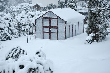 Winter Gewächshaus im Garten mit viel Schnee