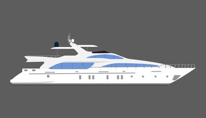 Yacht Isolated On Gray Background. Flat Design. Vector Illustration.
