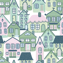 Pattern with hand drawn doodle houses