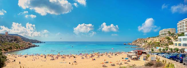 Wall Mural - Sandy beach at Golden Bay. Malta, Europa
