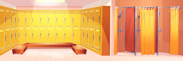 Modern gym or sport club comfortable locker room interior cartoon vector background with two rows of closed personal lockers, comfortable seats for dressing and shower cabins with curtain illustration