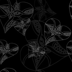Monochrome seamless pattern with hearts. Texture for scrapbooking, wrapping paper, textiles.