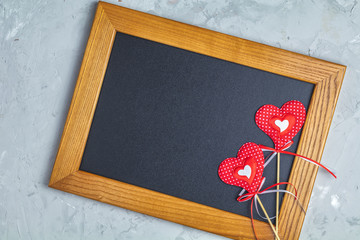 Valentines Day greeting card with two handmade hearts