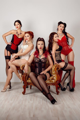 Five ladies of different body types in corsetes, stockings with suspender belt and lingerie posing