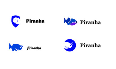 Four piranha logos in the form of a silhouette with a text on the right
