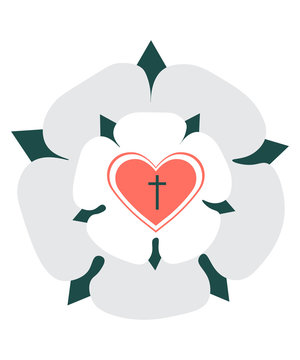 Martin Luther Rose Seal isolted vector ilustration. Luther Rose, symbol for Lutheranism, drawn in modern Minimalistic style.