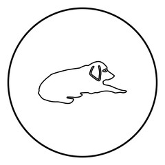 Dog lie on street Pet lying on ground Relaxed doggy icon black color illustration in circle round