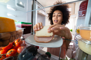 Woman Taking Sandwich From Plate In The Refrigerator