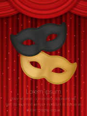 Theatrical mask on a red background. Template for your design. red theatre curtain. Flyer, poster, bunner. Vector illustration. blank for text.