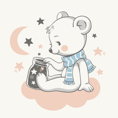 Vector illustration of a cute baby bear, sitting on the cloud among the stars.