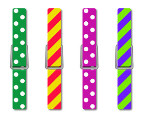 Colorful clothes peg, isolated illustration