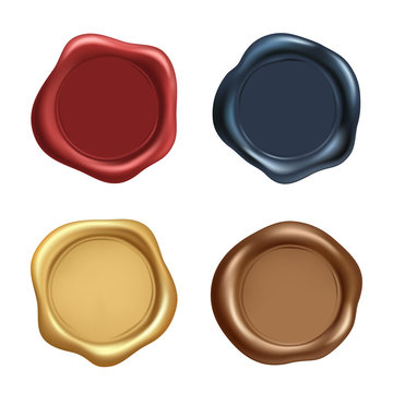Stamp wax seal vector icons set. Wax old realistic stamps labels on white background.