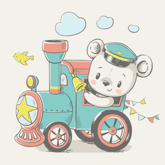 Vector cartoon illustration of a cute baby bear, driving the locomotive.