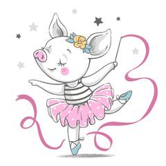 Vector illustration of a cute piggy ballerina in a pink tutu.