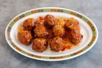 Caramelized chicken balls
