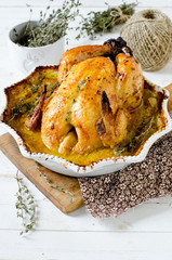 Chicken baked with cream and mustard