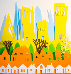 Paper cut design of the city view. Creativity, education, hobby, innovation and inspiration concept.
