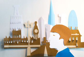 Young man in the City. Paper cut design background