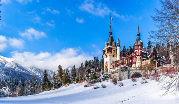Sinaia, Romania: Peles Castle in a beautiful day of winter, the most famous royal castle of Romania, Romania landmark Prahova region.