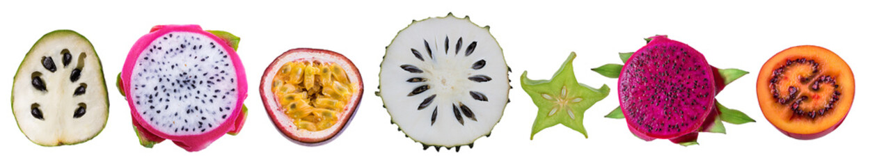 Isolated collection of exotic fruits. Fresh dragon fruit ,carambole,cherimoya,passion fruit; passionfruit,annona muricata ,soursop fruit, tamarillo on white background Wall mural