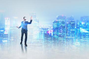 Businessman in vr glasses in night city
