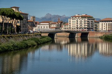 View of the beautiful city Pisa in october, Italy.