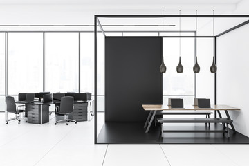 White and black panoramic office