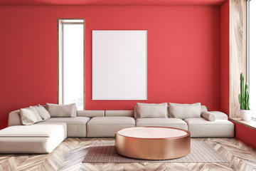 Red living room, white sofa and poster