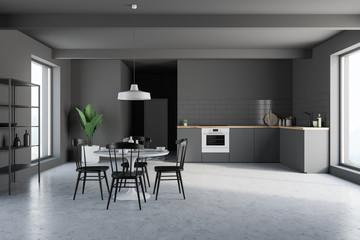 Gray kitchen interior with cupboard