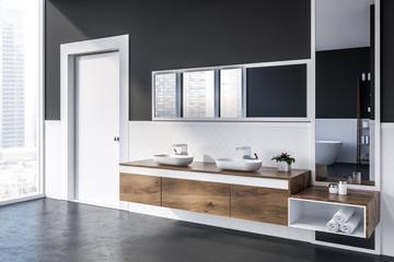 Double bathroom sink and door, side view