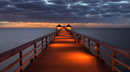 Wall Mural - Sunset over the Gulf of Mexico from Naples Pier in Naples, Florida