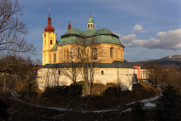 Baroque Basilica of the Visitation Virgin Mary in Winter, place of pilgrimage, Hejnice, Czech Republic